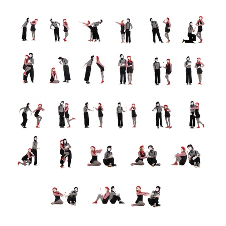 mimic: photo collection of two funny mimes isolated on white background