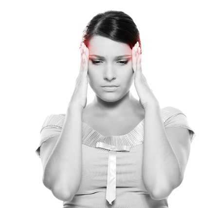 afflict: black-and-white picture of young woman have a headache. isolated on white background