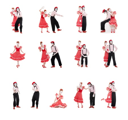 photo collection of two funny mimes isolated on white photo