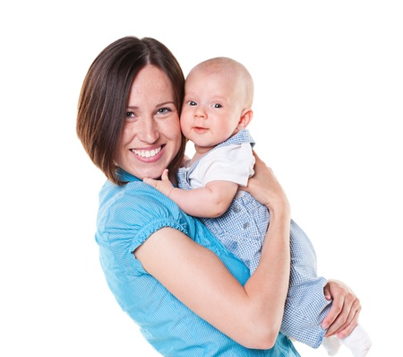 smiling mother and baby  isolated on white Stock Photo - 14003273