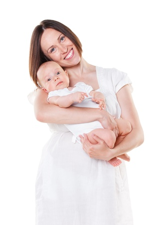 young smiley mother and adorable baby over white background Фото со стока