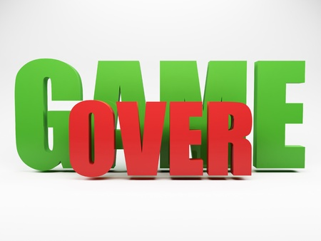 game over: 3d words game over against grey background