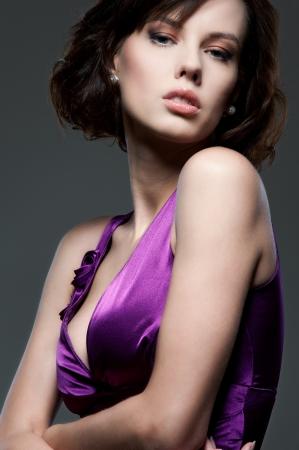 portrait of sexy glamor model over dark background photo