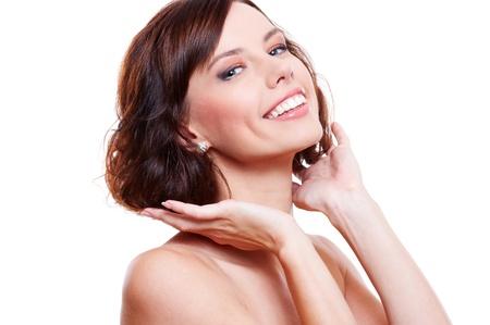 studio shot of happy beautiful woman. isolated on white background photo