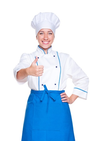 portrait of happy cook showing thumbs up. isolated on white background Stock Photo - 14448069