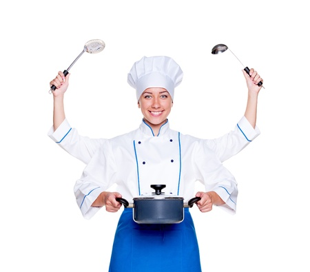 super cook with many hands. studio shot over white background photo