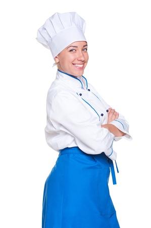 mani incrociate: giovane cuoco con le mani incrociate. studio colpo su sfondo bianco Archivio Fotografico