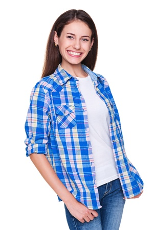 checked shirt: joyful young woman in checked shirt. isolated on white background