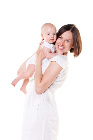 happy mom with her baby. studio shot over white background Stock Photo