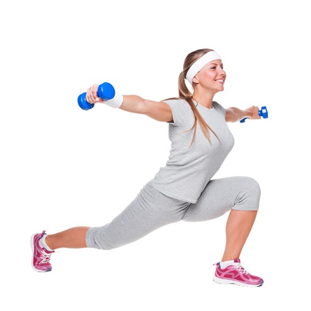 young woman doing exercises with weight. isolated on white background Stock Photo - 14748832