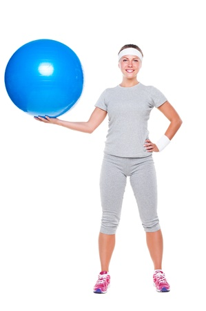 full length picture of young smiley woman with ball. isolated on white background Stock Photo - 14748834