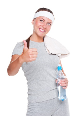 studio shot of healthy young woman showing thumbs up. isolated on white background Stock Photo - 14748849