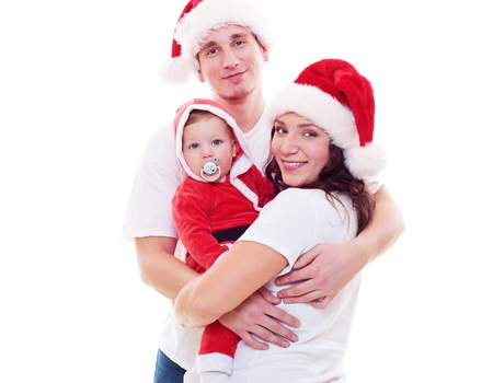 studio shot of christmas family. isolated on white background photo