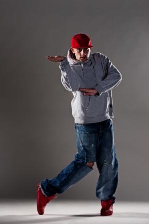 cool breakdancer over dark background