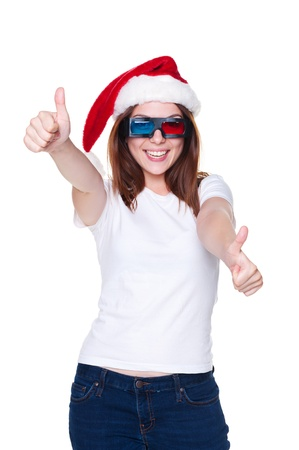 holiday blockbuster: happy and laughing girl showing thumbs up. isolated on white background
