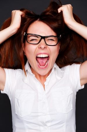 shouting girl have a problems Stock Photo