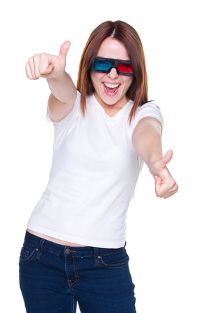 merriment: studio shot of happy emotional woman in 3d glasses showing thumbs up Stock Photo