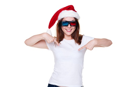 holiday blockbuster: young christmas woman in 3d glasses pointing at her white t-shirt