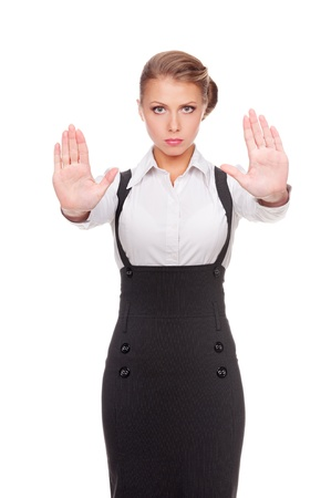 serious businesswoman showing stop gesture. isolated on white background Stock Photo - 15708263