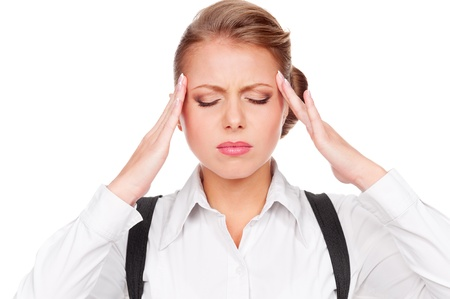afflict: portrait of white-collar worker have a headache. isolated on white background