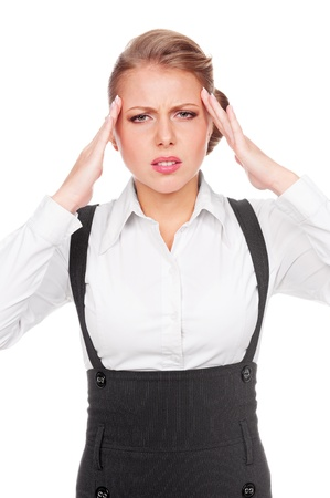 afflict: portrait of businesswoman with headache over white background