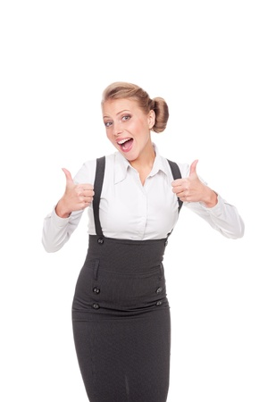 winning woman: excited businesswoman showing thumbs up over white background Stock Photo