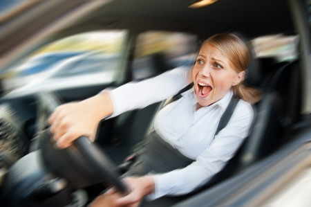 startled: startled female driving the car and screaming