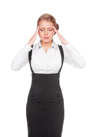 afflict: white-collar worker have a headache  studio shot over white background