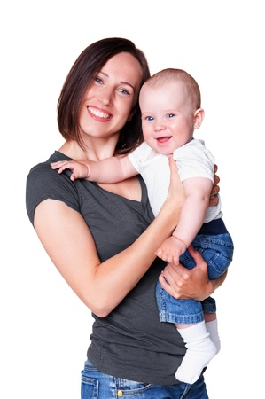 six months: smiley woman holding her little adorable son  isolated on white background