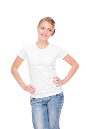 t shirt white: excited young woman in the white t-shirt