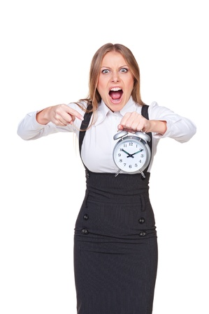 angry boss pointing at the clock. isolated on white background