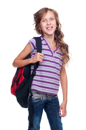 10 year old: cheerful schoolgirl with rucksack. isolated on white background