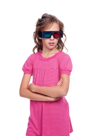 hing: little girl in 3d glasses watсhing animated cartoon. isolated on white background