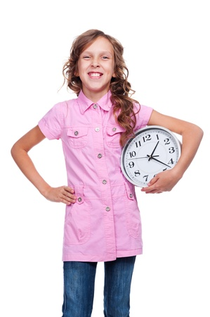 joyous: joyous girl with clock standing over white background