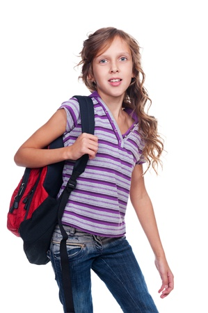 10 year old: portrait of schoolgirl with knapsack. isolated on white background