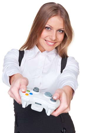 gamepad: attractive woman playing in video game. studio shot over white background Stock Photo
