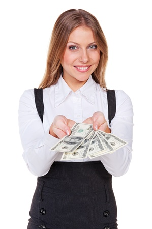woman holding money: excited businesswoman showing five of hundreds of american dollars. isolated on white background Stock Photo