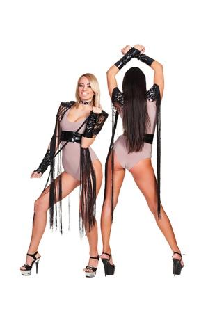 gogo girl: verführerische Tänzer auf weißem Hintergrund Lizenzfreie Bilder