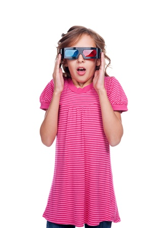 3D glasses: amazed little girl in 3d glasses. isolated on white background Stock Photo