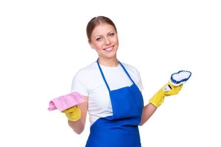 housewife gloves: female cleaner in blue apron against white background Stock Photo