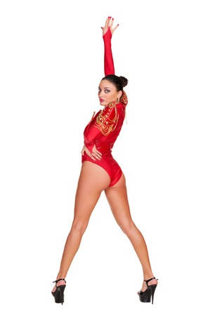 sexy costume: full length photo of sexy go-go dancer in red stage costume. isolated on white background Stock Photo