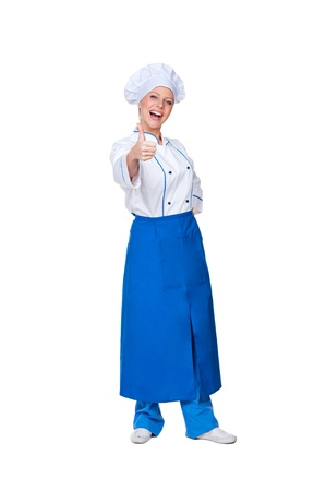 full length portrait of happy cook showing thumbs up. isolated on white background Stock Photo - 16536252