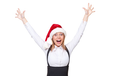 santa businesswoman shouting of joy. isolated on white background Stock Photo - 16536245