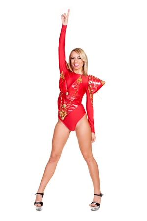 sexy costume: smiley and sexy dancer in red costume isolated on white background Stock Photo