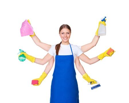 manos limpias: asistenta hermosa con seis manos aisladas en fondo blanco