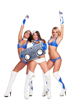 three club performers with dj controller isolated on white background Stock Photo - 16756791