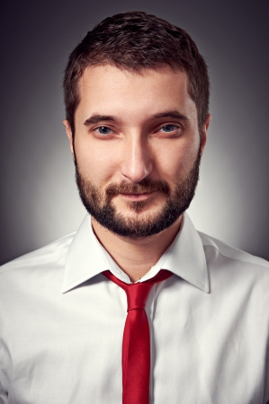 portrait of handsome man in white shirt and red necktie over grey background Stock Photo - 17377086
