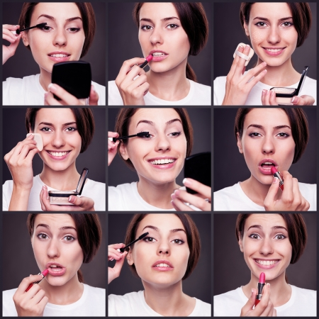 set of beautiful woman with cosmetics over dark background Stock Photo - 17377091