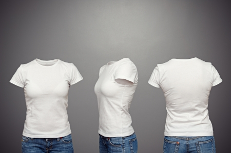 invisible: front, back and side views of blank feminine t-shirt over dark background