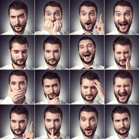happy young: conjunto de hombre emocional hermoso sobre fondo oscuro